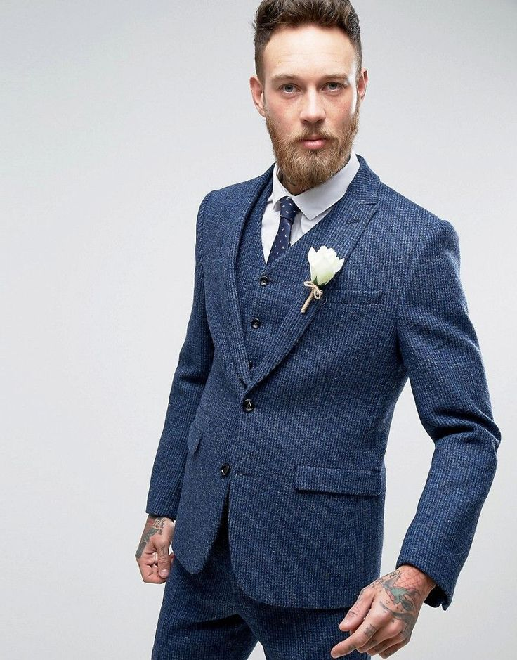 ASOS WEDDING Slim Suit Jacket in Harris Tweed Check in 100% Wool - Blu