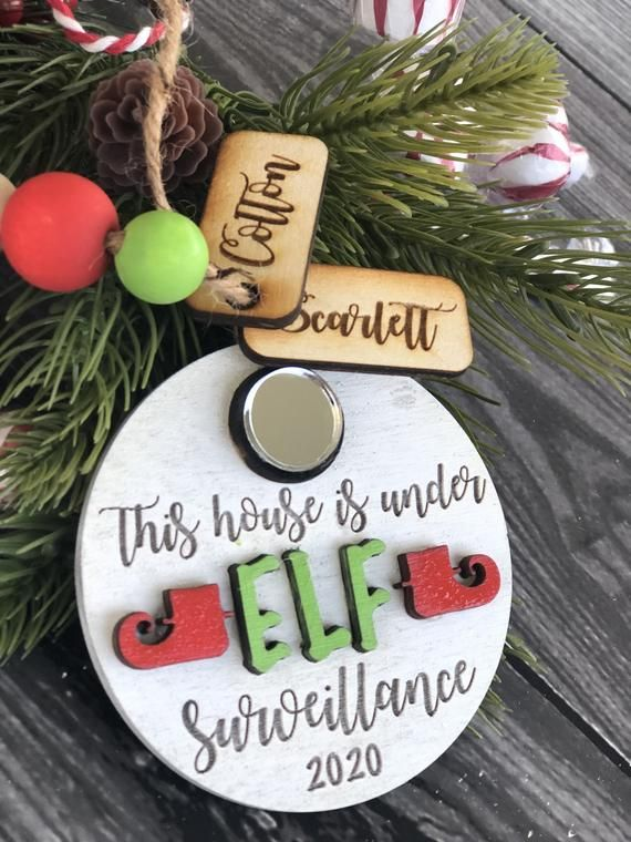 3d Elf Cam With Mirrored Acrylic Engraved Names Etsy Elf Cam Christmas Wood Grinch Decorations