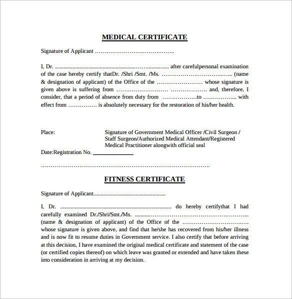 Medical Certificate Samples Certificate Format Doctors Note