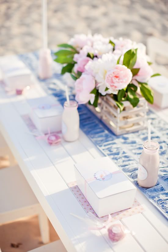 Hamptons party at the beach blue and white