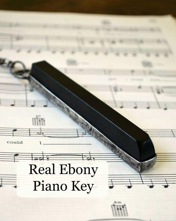 Musician+Gift+Key+Chain+Real+Ebony+Piano+Key+by+BayouGlassArts