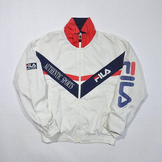 54c2a0fa9f0 Rare Vintage 80s 90s FILA Authentic Sports Windbreaker Jacket / FILA Italia  Tennis Wind Up Shell