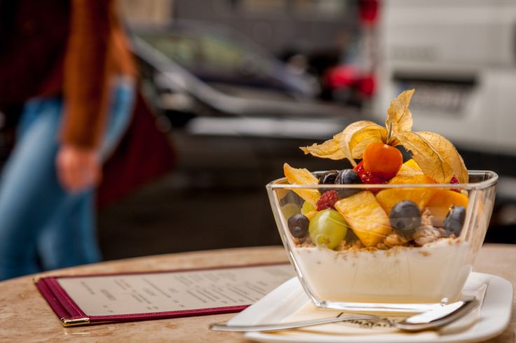 Breakfast @ Dinatale Café Munich.  Fresh & healthy yoghurt-Cereals-Fruit Mix to start your day the italian way!