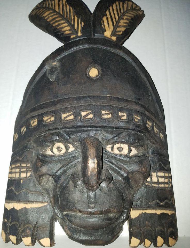 I$99.00  NCA warrior Hand carved mask Tupac Yupanqui made by Peruvians Artisans