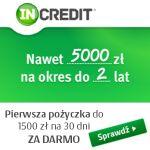 Pożyczka InCredit jest dostępna w wysokoścido 5000 zł na okres od 1 do 24 miesięcy. Każdy nowy Klient może pożyczyć za darmo gdyż firma udostępnia pierwszą pożyczkę gratis w wysokości do 1500 zł na 30 dni. Jest to szybka pożyczka pozabankowa dostępna przez internet bez