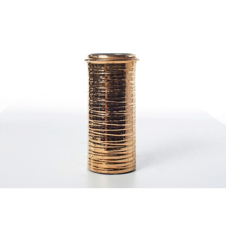 Vaso firmato per La Bottega made in Italy anni 80 oro in ceramica