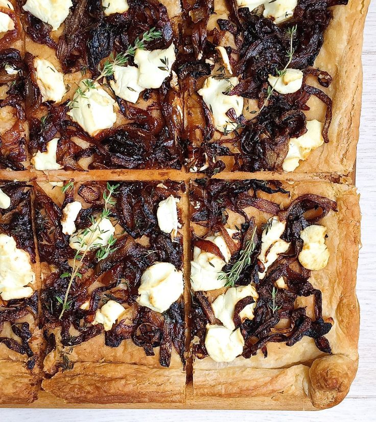 Caramelized Onion Tart with Goat Cheese and Thyme  (I will use butter in this recipe because of personal preference)