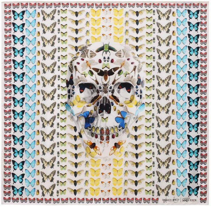 damien hirst + alexander mcqueen unveil scarf collection