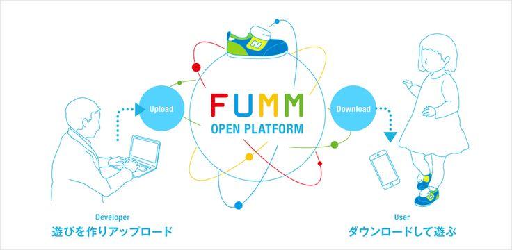 """FUMMは、""""足音で遊べるキッズシューズ""""。親子のコミュニケーションを楽しくするウェアラブルデバイスです。ハッカソンを通じて生み出された生活者のアイデアをベースに、ニューバランスジャパン社の協力のもと開発されました。"""