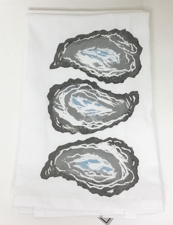 3 Oyster Shells (Two-toned Grey with Cloud) on White Flour Sack Napkins