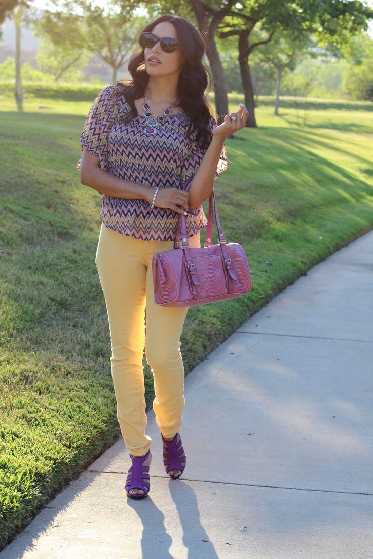 A Chevron Blouse & Yellow Jeans #coloredjeans #jeans #chevron