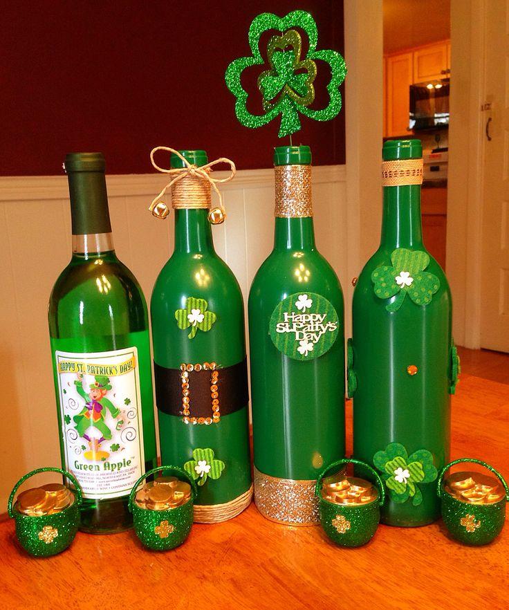 St Patrick's Day Wine bottles