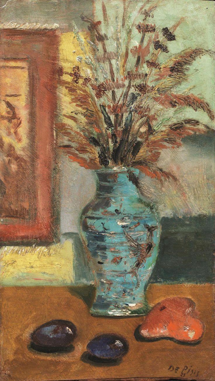 Filippo De Pisis (Italian, 1896-1956), Vaso di fiori [Vase of flowers], 1923. Oil on cardboard, 50 x 27.5 cm.