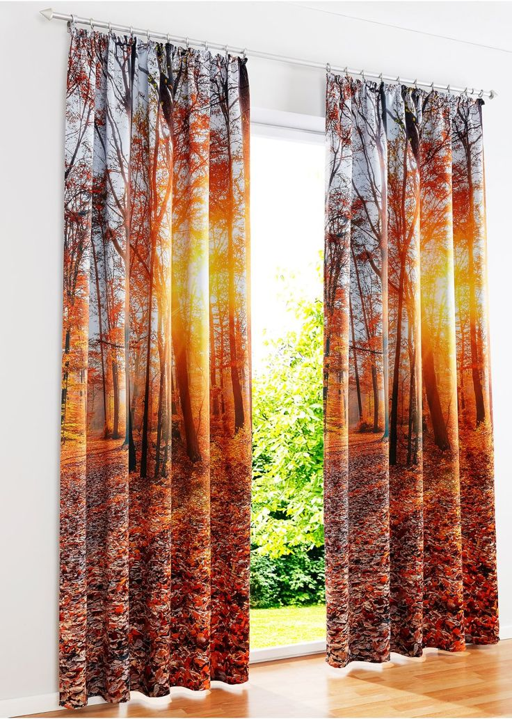 Bekijk nu:Haal de natuur in huis! Verduisterend overgordijn met woudmotief aan de voorzijde. De achterkant is lichtgekleurd en zonder motief.