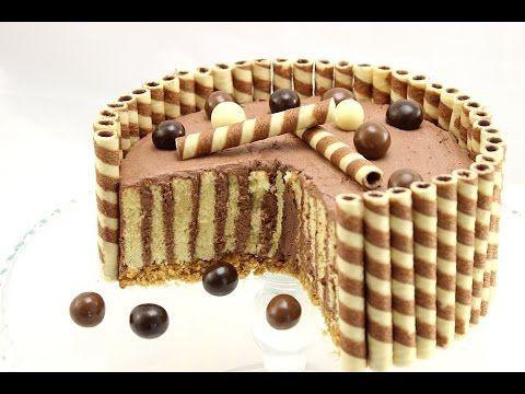 Wafer Cake mit Schokoladensahne/ Schokoladentorte mit Waffeln/ Wickeltorte - YouTube