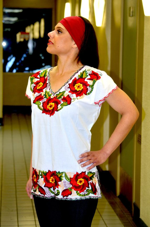 Beautiful Embroidered Blouses in colors and unique by Vtgantiques, $54.99