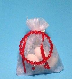 Μπομπονιέρα βάπτισης με κόκκινο βραχιολάκι (Μ 4028)