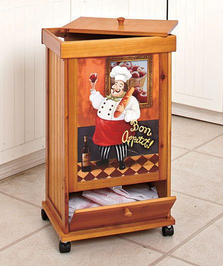 fat italian chef rolling wooden trash bin wstorage compartment kitchen decor - Wine Themed Kitchen Ideas