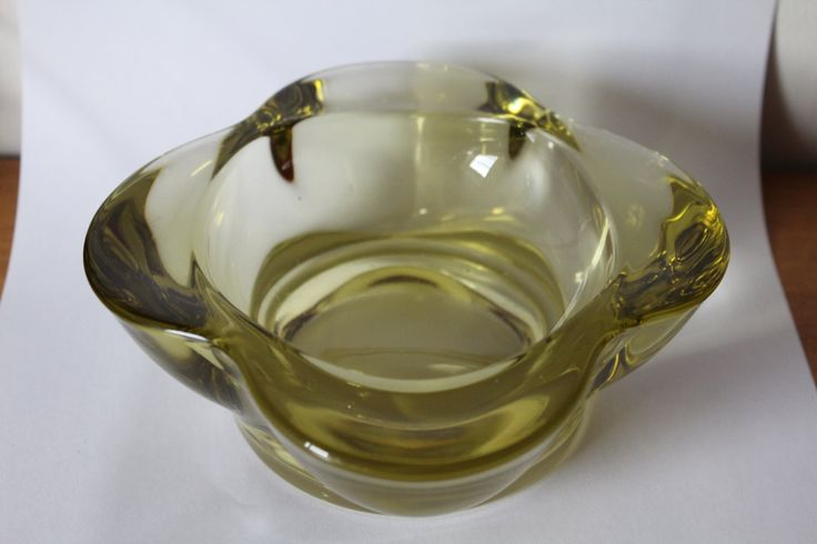 Sklo Union Rosice bowl designed by Rudolf Jurnikl Citrine pattern no 1175 by 20thCenturyParade on Etsy