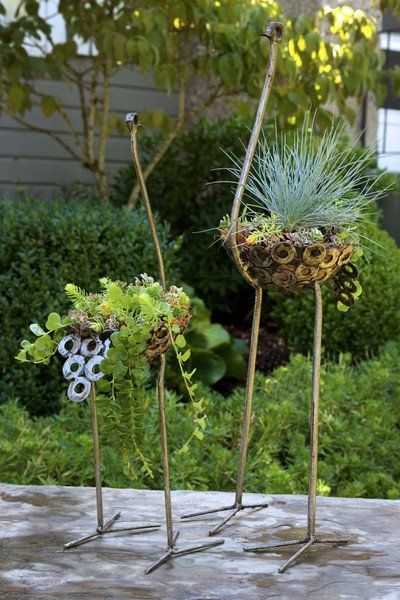 Swahili Small Recycled Metal Ostrich Plant Holder  - 2