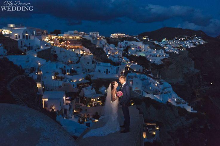 Santorini island in dark time