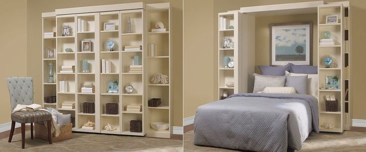 Beautiful folding bookcase in Bedroom Traditional with Sliding Bookshelf next to Hidden Bed alongside Murphy Bed Ideas and Folding Beds