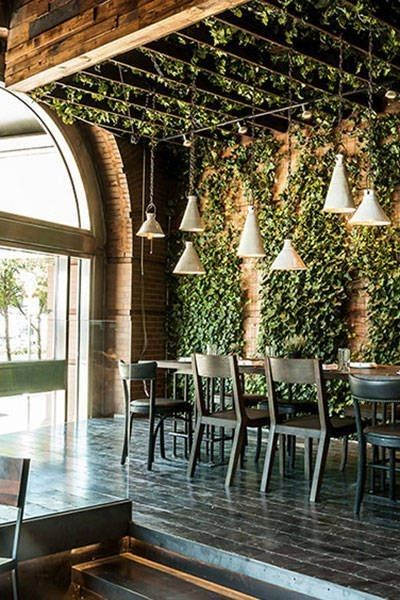 Exposed brick walks, greenery & suspended lights. I like the way the canopy extends out over the table too                                                                                                                                                      More