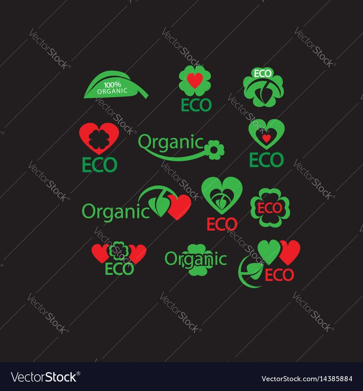 Green organic eco natural abstract icon set Vector Image by NiMa_Design