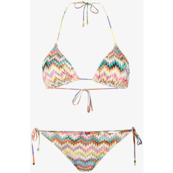 Missoni Mare zig-zag triangle bikini (635 CAD) ❤ liked on Polyvore featuring swimwear, bikinis, zig zag bikini, bikini swim wear, multi color bikini, missoni and bikini two piece