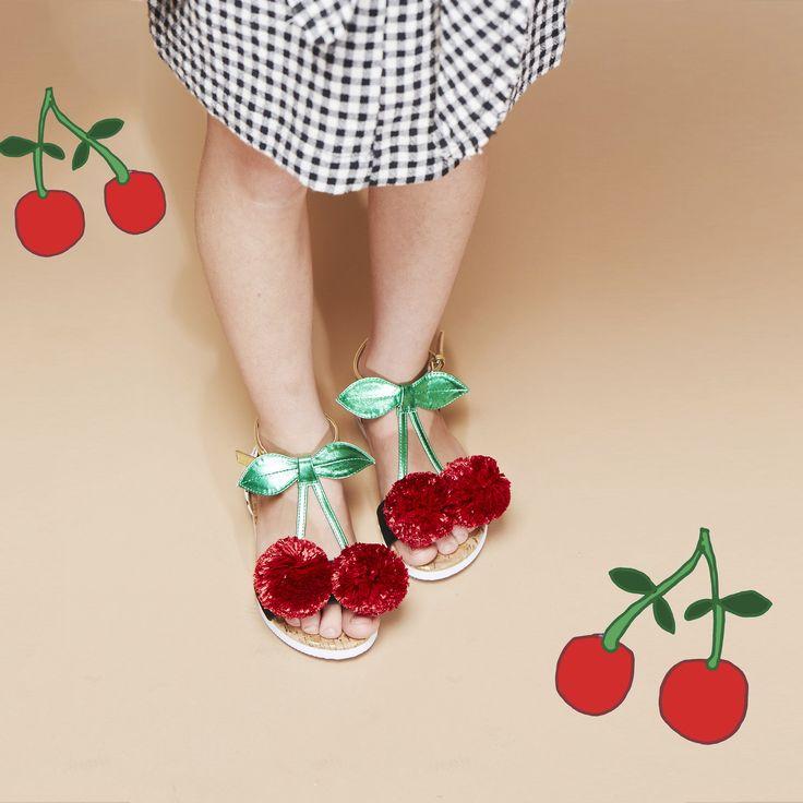 Cherry pom Pom sandals from Kurt Geiger - Mini Miss KG
