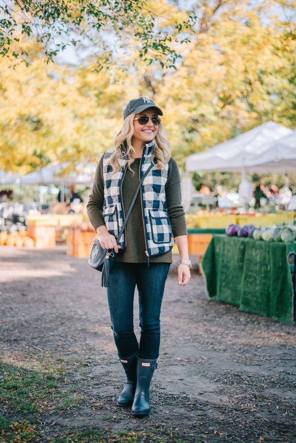 gingham vest | sweater | jeans | baseball cap | hunter boots