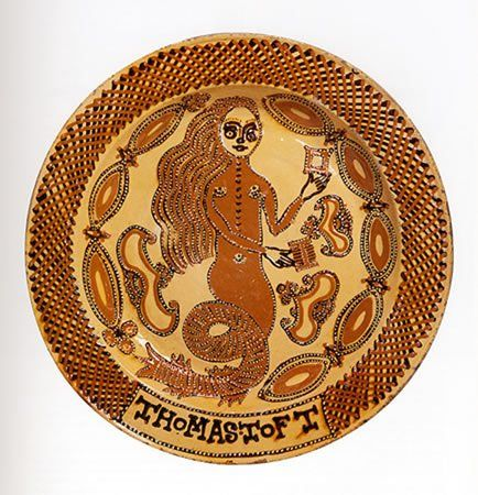 Thomas Toft, Mermaid Dish, 17th century. Toft is the best known of the seventeenth century Staffordshire slipware potters, but very little is known about his life and there are only 40 known signed plates in the country. Designs attributed to Toft include mermaids, unicorns, pelicans, but also King Charles II and his wife Queen Catherine of Braganza, and numerous coats of arms.