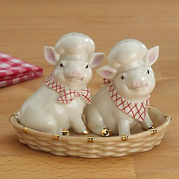 LENOX Your Home: Salt & Pepper Sets - Pigs in a Basket Salt & Pepper Shaker Set.  No BBQ is complete without them  @Lenox  #Lenoxwhatsnewwithu