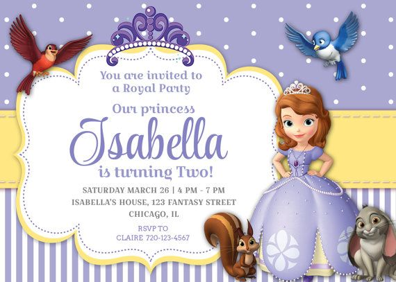 Sofia the First invitation by MagicPartyPrintables on Etsy