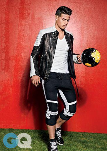 James Rodriguez in a Balmain biker jacket. (Photo by Ben Watts)