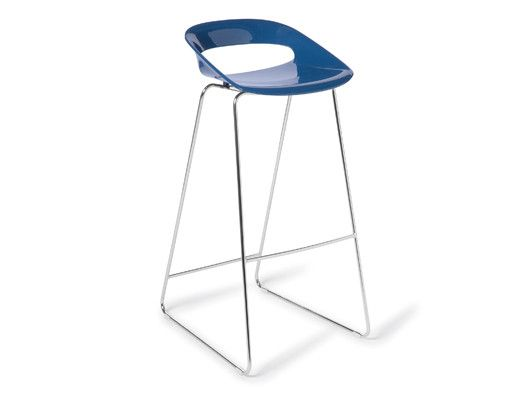 Fun Stool:The Fun stool is a modern barstool in a great range of colours The Fun Stool:  Shell of resilient polycarbonate, chrome rod sled frame also available as a chair