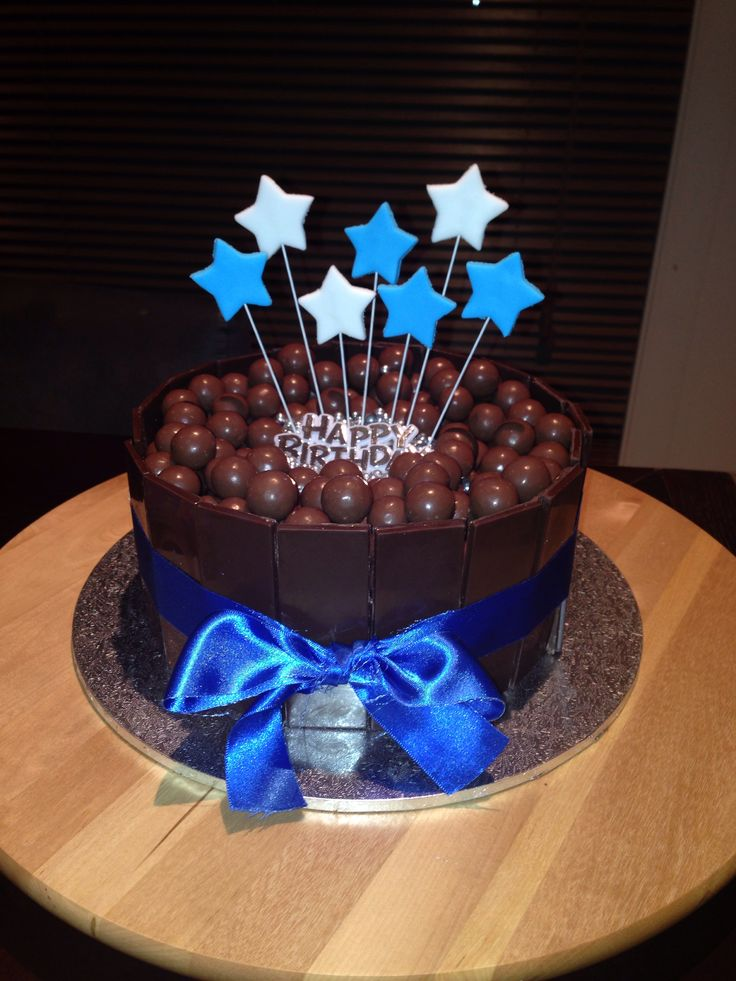 Chocolate mud cake with chocolate mousse and maltesers for my husbands 32nd birthday.