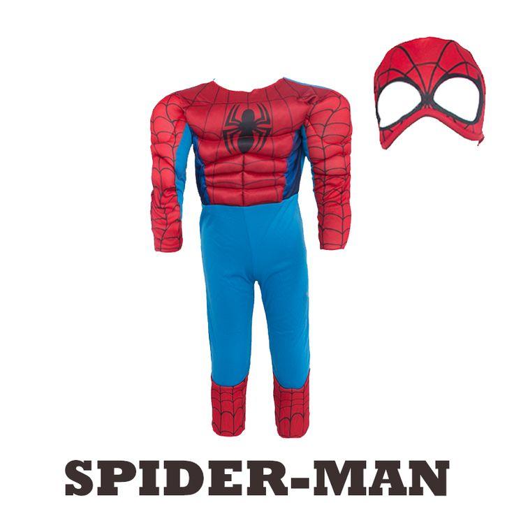 子筋肉スパイダーマン衣装ファンタジーハロウィン衣装子供のための男の子スーパーヒーローパーティー供給