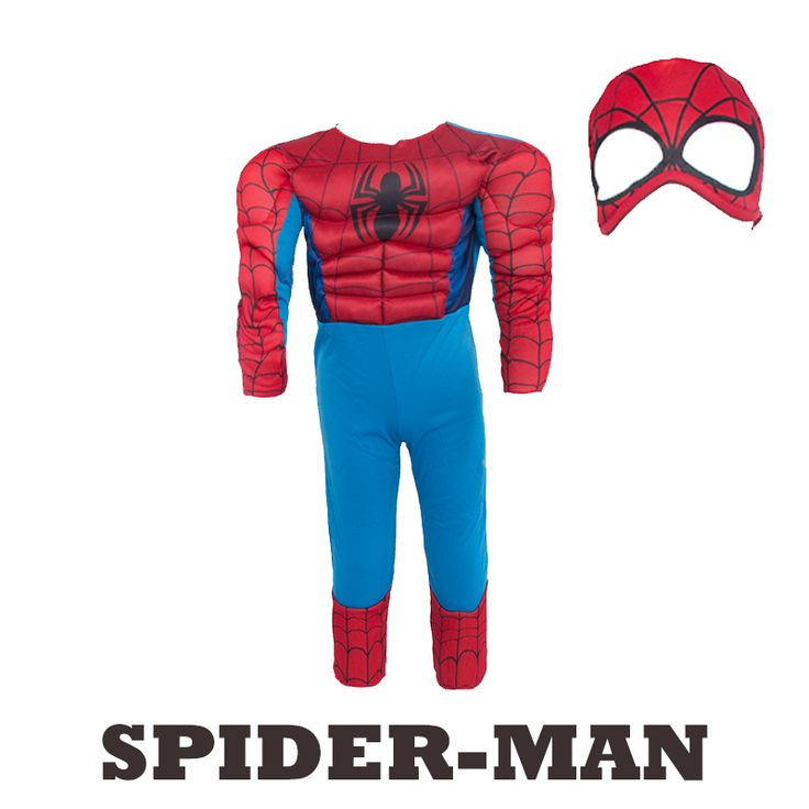 Muscular infantil Spiderman Superhéroe Traje de Fantasía de Disfraces de Halloween para Niños Boy Party Supply