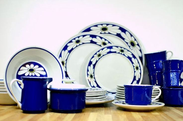 Midcentury Mikasa Dinnerware Set: Epiqure-One Tivoli Pattern D4501 Blue Daisy Set Six and More Sugar, Creamer, Plates, Bowls, Cups, Saucers by VintageRescuer on Etsy