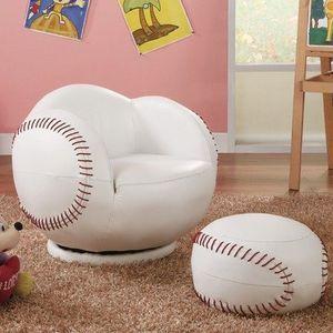 Small Baseball Chair and Ottoman Set