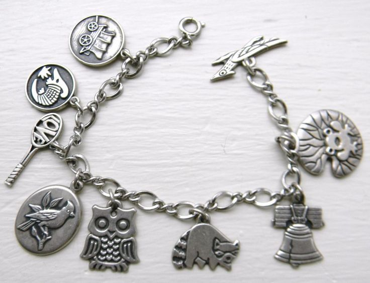 Vintage James Avery Sterling Silver Girl Scout 9 Charms Charm Bracelet Rare!!! #jamesavery #charmbraceletcharms