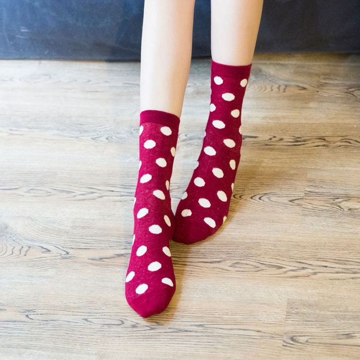 5Pairs High Quality Women Socks Cute Wave Point Causal Cotton Funny Simple Wind Sox Comfortable Female Tube Happy Socks  #Affiliate