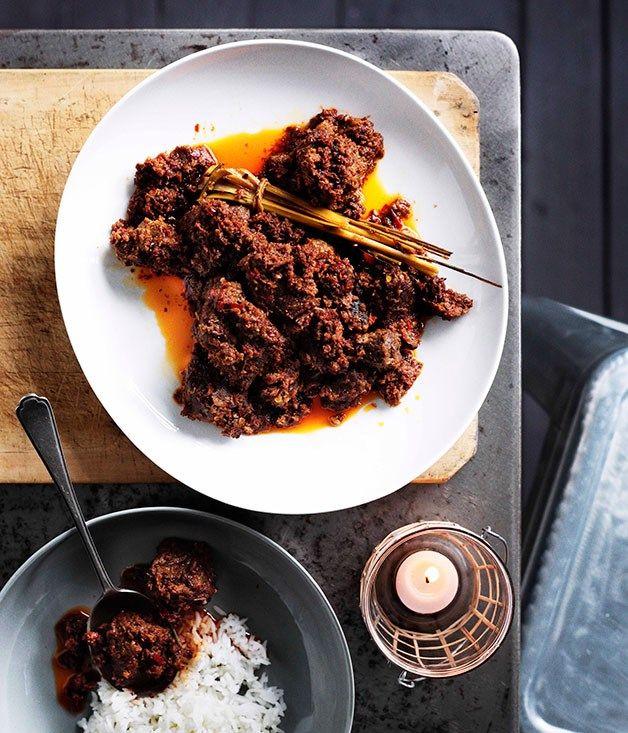 Australian Gourmet Traveller Indonesian recipe for beef rendang by Tony Tan.