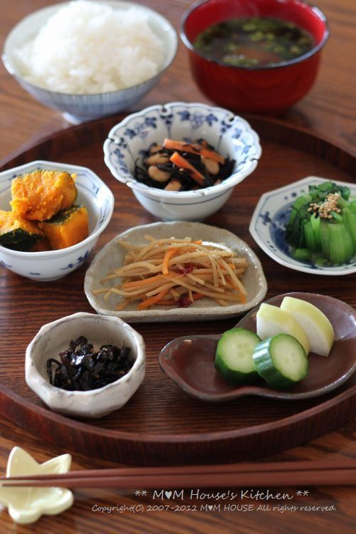 Healthy and Tasty Japanese Breakfast Dishes (Rice, Miso Soup, Vegetables and Seaweeds)