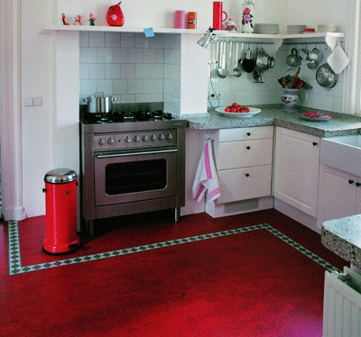 Wow, this is what my kitchen will look like with a red marmoleum floor, except of course I have a way cuter vintage stove.