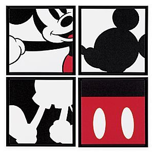 Piece together the four parts of this Mickey Mouse Quartet Artwork to create a fun abstract image of Mickey. The quartet of framed giclées on canvas can be combined to create the full dynamic impact.