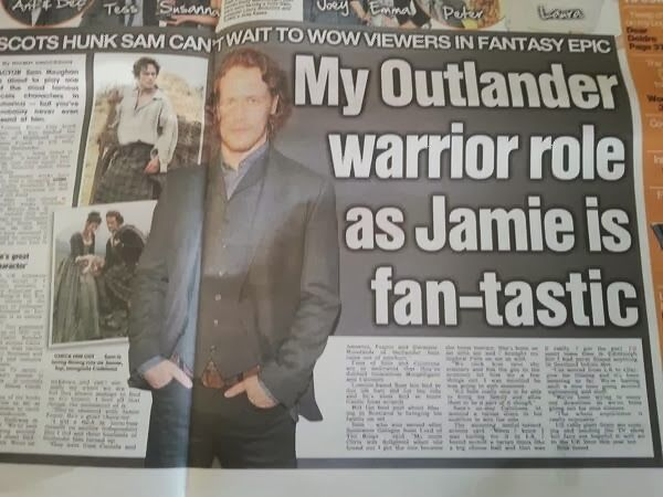 "'Outlander' articles in The Daily Record and The Scottish Sun. <-- ""Scots Hunk Sam...,"" even the newspaper has a crush on Sam Heughan!"