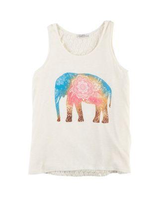 Moa Moa Big Girls Lace Elephant Tank Top