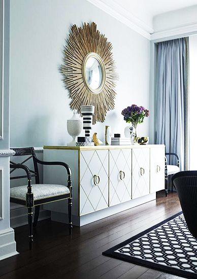 A Chic and Feminine Australian Apartment// Greg NataleGreg Natal, Dining Room, Sunburst Mirrors, Living Room, Colors Combinations, White Decor, Black White, Black Decor, White Gold